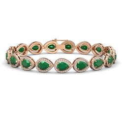 21.69 CTW Emerald & Diamond Halo Bracelet 10K Rose Gold - REF-315W5F - 41091
