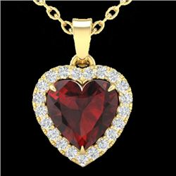1 CTW Garnet & Micro Pave VS/SI Diamond Heart Necklace Halo 14K Yellow Gold - REF-28K4W - 21340