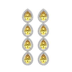 7.48 CTW Fancy Citrine & Diamond Halo Earrings 10K White Gold - REF-136T9M - 41180