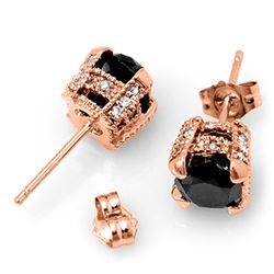 4.0 CTW VS Certified Black & White Diamond Solitaire Stud Earrings 14K Rose Gold - REF-96T9M - 11854