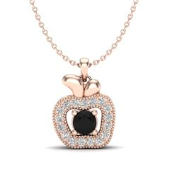 0.30 CTW VS/SI Diamond Micro Pave Halo Necklace 14K Rose Gold - REF-30H4A - 20374
