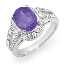 3.50 CTW Tanzanite & Diamond Ring 14K White Gold - REF-91N3Y - 14537