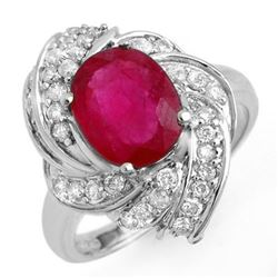 3.55 CTW Ruby & Diamond Ring 18K White Gold - REF-102Y2K - 13225