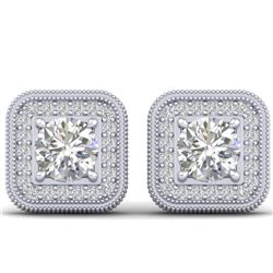 2 CTW Certified VS/SI Diamond Art Deco Micro Halo Stud Earrings 14K White Gold - REF-224H4A - 30498