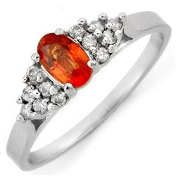 0.74 CTW Orange Sapphire & Diamond Ring 18K White Gold - REF-25H5A - 10477