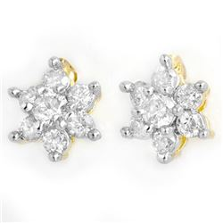 0.50 CTW Certified VS/SI Diamond Earrings 14K Yellow Gold - REF-35K6W - 13582