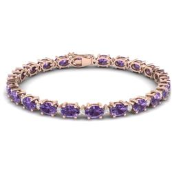 25.8 CTW Amethyst & VS/SI Certified Diamond Eternity Bracelet 10K Rose Gold - REF-122F9N - 29442
