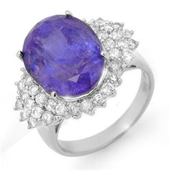 11.25 CTW Tanzanite & Diamond Ring 18K White Gold - REF-406W4F - 14517