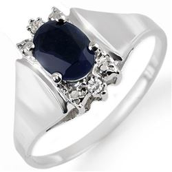 1.43 CTW Blue Sapphire & Diamond Ring 10K White Gold - REF-15X5T - 10706