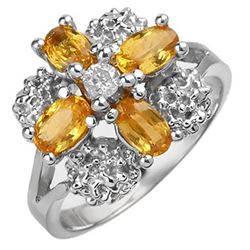 1.33 CTW Yellow Sapphire & Diamond Ring 10K White Gold - REF-32N8Y - 10773