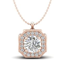 1.54 CTW VS/SI Diamond Solitaire Art Deco Necklace 18K Rose Gold - REF-409M3H - 37326