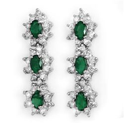 2.52 CTW Emerald & Diamond Earrings 18K White Gold - REF-109K8W - 13995