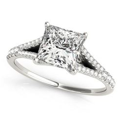 0.81 CTW Certified VS/SI Princess Diamond Solitaire Ring 18K White Gold - REF-121W3F - 27942