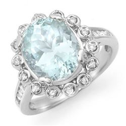 5.33 CTW Aquamarine & Diamond Ring 10K White Gold - REF-81X8T - 14502