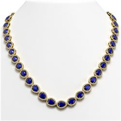 45.93 CTW Sapphire & Diamond Halo Necklace 10K Yellow Gold - REF-674A2X - 41050