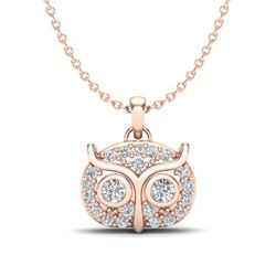 0.17 CTW Micro Pave VS/SI Diamond Necklace 14K Rose Gold - REF-24N8Y - 20382