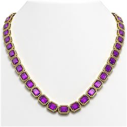 50.99 CTW Amethyst & Diamond Halo Necklace 10K Yellow Gold - REF-677K6W - 41371