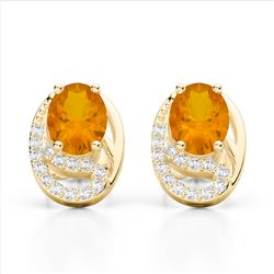2.50 Citrine & Micro Pave VS/SI Diamond Stud Earrings 10K Yellow Gold - REF-25X6T - 22330
