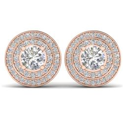 1.45 CTW I-SI Diamond Solitaire Art Deco Halo Stud Earrings 14K Rose Gold - REF-126K2W - 30367