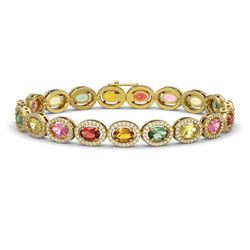 14.25 CTW Multi Color Sapphire & Diamond Halo Bracelet 10K Yellow Gold - REF-304Y5K - 40501