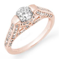 1.42 CTW Certified VS/SI Diamond Ring 14K Rose Gold - REF-205K3W - 11254