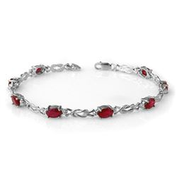 5.48 CTW Ruby & Diamond Bracelet 14K White Gold - REF-66X4T - 14078