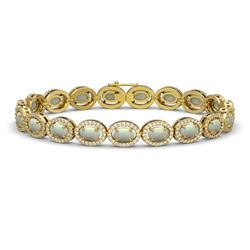9.5 CTW Opal & Diamond Halo Bracelet 10K Yellow Gold - REF-251Y8K - 40468