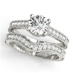 0.88 CTW Certified VS/SI Diamond Solitaire 2Pc Wedding Set Antique 14K White Gold - REF-140T5M - 315