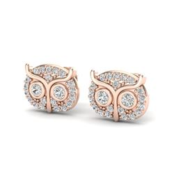 0.35 CTW Micro Pave VS/SI Diamond Earrings 14K Rose Gold - REF-32H8A - 20089