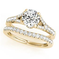 1.06 CTW Certified VS/SI Diamond Solitaire 2Pc Wedding Set 14K Yellow Gold - REF-96M5H - 31744