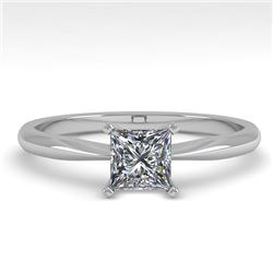 0.52 CTW Princess Cut VS/SI Diamond Engagement Designer Ring 18K White Gold - REF-98H4A - 32391