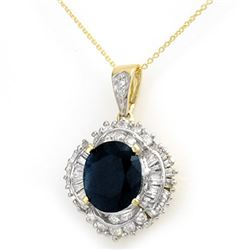 6.53 CTW Blue Sapphire & Diamond Pendant 14K Yellow Gold - REF-180F2N - 12937