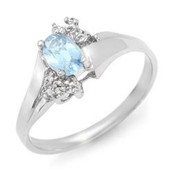 0.52 CTW Blue Topaz & Diamond Ring 18K White Gold - REF-30A9X - 12399