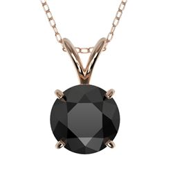 1.25 CTW Fancy Black VS Diamond Solitaire Necklace 10K Rose Gold - REF-29W5F - 33205
