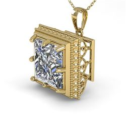 1 CTW VS/SI Princess Diamond Solitaire Necklace 18K Yellow Gold - REF-332N8Y - 36004