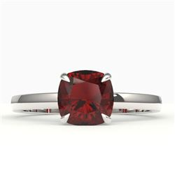 1.50 CTW Cushion Cut Garnet Designer Engagement Ring 18K White Gold - REF-33H3A - 22143