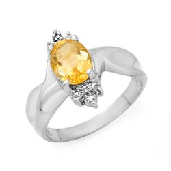 1.09 CTW Citrine & Diamond Ring 10K White Gold - REF-18X2T - 13951