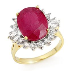 7.04 CTW Ruby & Diamond Ring 14K Yellow Gold - REF-141Y8K - 12863