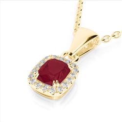 1.25 CTW Ruby & Micro Pave VS/SI Diamond Halo Necklace 10K Yellow Gold - REF-31H8A - 22889