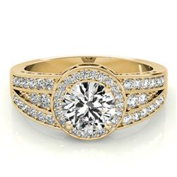 1.5 CTW Certified VS/SI Diamond Solitaire Halo Ring 18K Yellow Gold - REF-398K9W - 26795