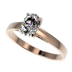 1 CTW Certified VS/SI Quality Oval Diamond Solitaire Ring 10K Rose Gold - REF-297X2T - 32992