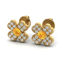0.54 CTW Citrine & Micro Pave VS/SI Diamond Earrings 18K Yellow Gold - REF-29K6W - 20043