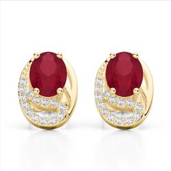 2.50 Ruby & Micro Pave VS/SI Diamond Stud Earrings 10K Yellow Gold - REF-25F6N - 22337