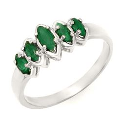 0.50 CTW Emerald Ring 18K White Gold - REF-31K6W - 13143