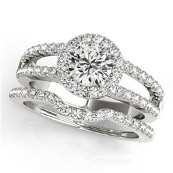 1.51 CTW Certified VS/SI Diamond 2Pc Wedding Set Solitaire Halo 14K White Gold - REF-188M5H - 30876