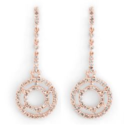 1.0 CTW Certified VS/SI Diamond Earrings 14K Rose Gold - REF-109A3X - 10303