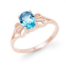 0.90 CTW Blue Topaz Ring 10K Rose Gold - REF-9M8H - 12573