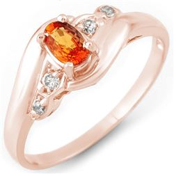 0.42 CTW Orange Sapphire & Diamond Ring 14K Rose Gold - REF-26X5T - 10889