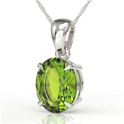 2.75 CTW Peridot Designer Inspired Solitaire Necklace 18K White Gold - REF-34H4A - 21873