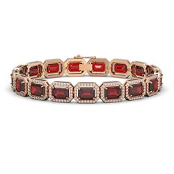 26.21 CTW Garnet & Diamond Halo Bracelet 10K Rose Gold - REF-301H8A - 41424